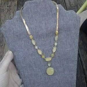Jewelry - Vintage Green and Gold Statement Necklace
